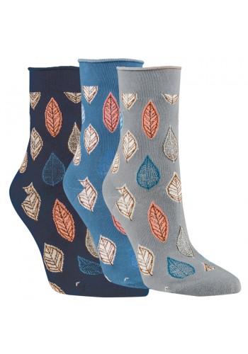 """11915- Dámske vzorované ponožky """"HERBSTLAUB"""" - 3 páry/bal."""