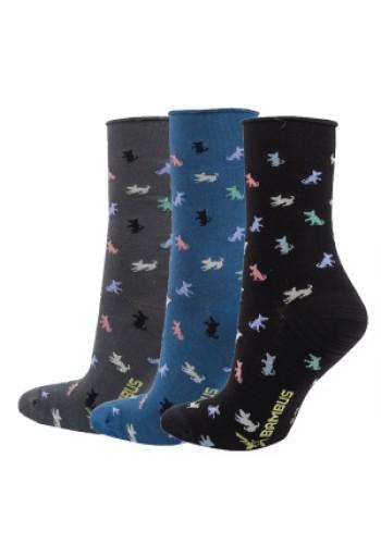 """11985 - Dámske bambusové, vzorované ponožky""""VISKOSE BAMBUS"""" - 3 páry/bal."""