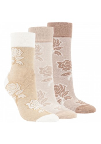 "11991 - Dámske bambusové, vzorované ponožky ""NATURE FLOWERS"" - 3 páry/bal."