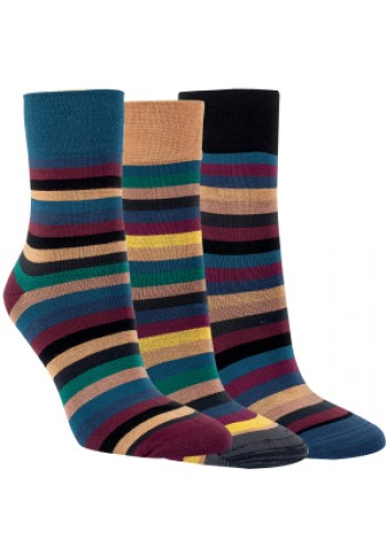"""12004 - Dámske bambusové vzorované ponožky """"MODERN STRIPES"""" - 3 páry/bal."""