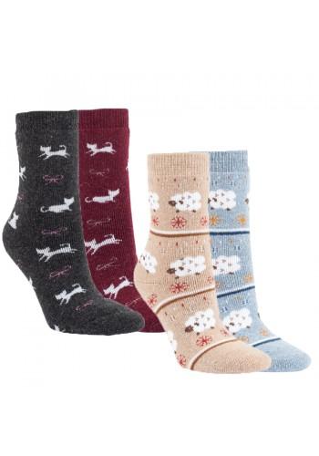 "13399 - Dámske vlnené ponožky ""SHEEP & CAT""- 2 páry/bal."