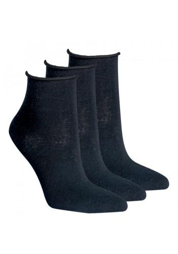 """15264 - Dámske členkové ponožky """"ROLLRAND, SCHWARZ"""" - 3 páry/bal."""
