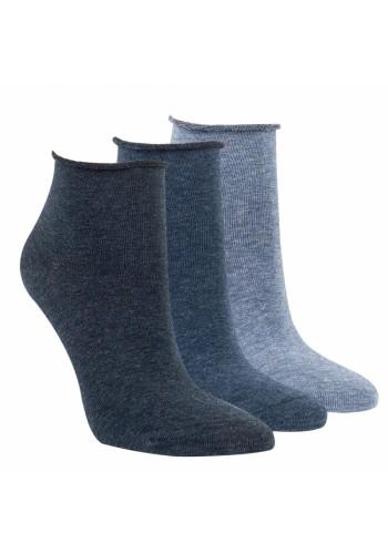 """15267- Dámske bavlnené kotníkové ponožky """"ROLLRAND, JEANS"""" - 3 páry/bal."""
