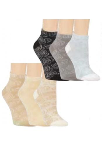 """15293-Dámske kotníkové ponožky ,,ROSE"""" - 3 páry/bal."""