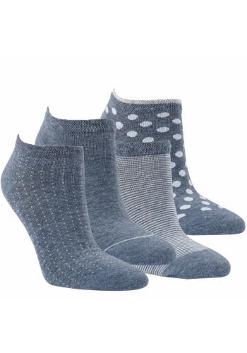 """15391 - Dámske bavlnené ťapky """"MODERN JEANS"""" - 3 páry/bal."""