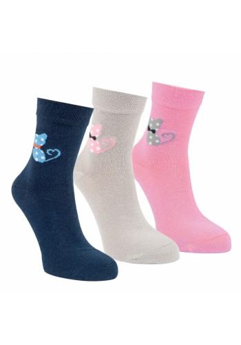 "20863 - Detské bavlnené ponožky ""COLORED KITTYS""- 3 páry/bal."