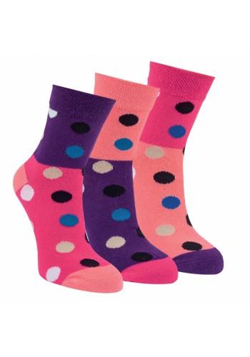 """20864 - detské bavlnené ponožky """"PINK DOTS""""- 3 páry/bal."""