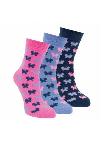 """20865 - Detské bavlnené ponožky """"CRAZY BUTTERFLYS""""- 3 páry/bal."""
