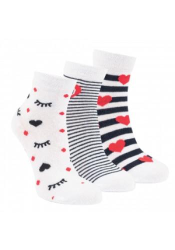 """21158 - Detské skrátené ponožky """"WHITE STYLE"""" - 3 páry/bal."""