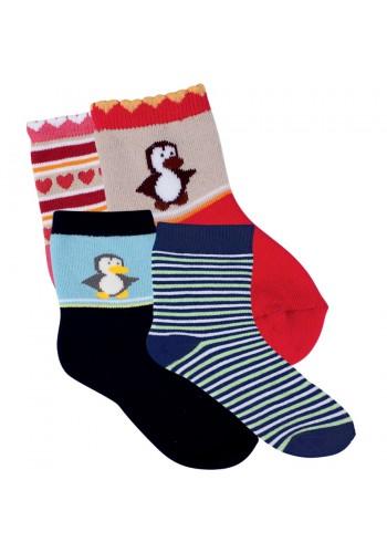"22126- Detské froté vzorované ponožky ""BOY & GIRL""  - 2 páry/bal."