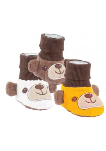 """24593- Plyšové papučky pre bábätká """"TEDDY"""" - 1 pár"""