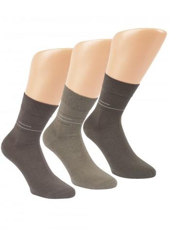 """32049 - Pánske zdravotné,skrátené ponožky """"KHAKI FARBEN"""" - 3 páry/bal."""
