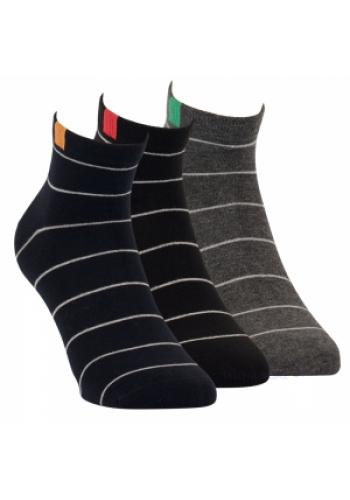 "35174- Pánske prúžkované kotníkové ponožky ,,RINGEL"" - 3 páry/bal"
