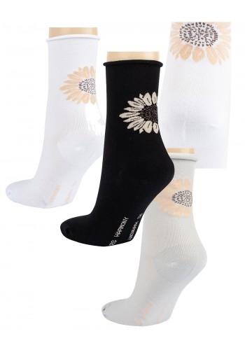 """11973- Dámske vzorované ponožky ,,SONNENBLUME"""" - 3 páry/bal."""