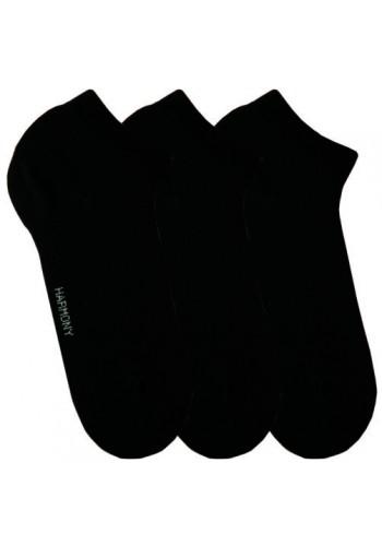 """15268- Dámske bavlnené kotníkové ponožky """"CLASSIC SCHWARZ"""" -3 páry/bal."""