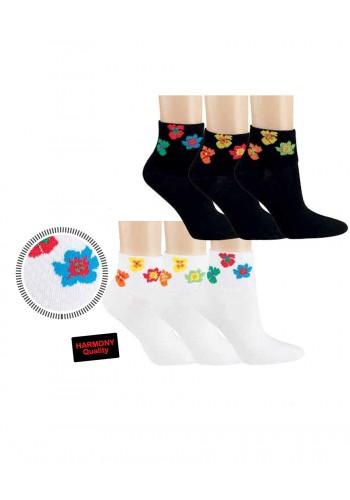 """15284- Dámske bavlnené kotníkové ponožky """"BLUMENRAND"""" - 3 páry/bal."""