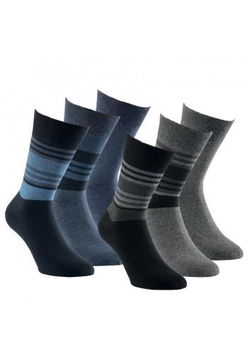 """32095- Pánske bavlnené zdravotné ponožky """"STREIFEN DESIGN"""" - 3 páry/bal."""