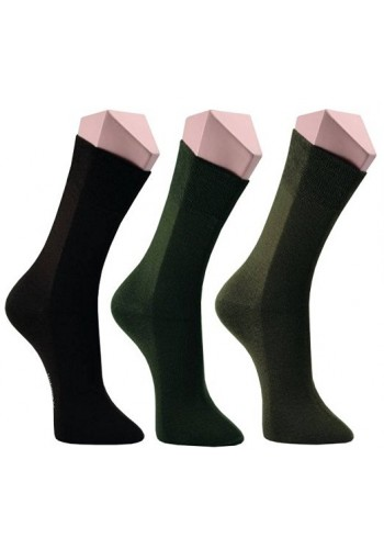 """31211- Pánske bavlnené zdravotné ponožky """"BRAUN, KHAKI"""" - 3 páry/bal."""