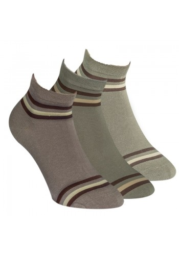 "35164- Pánske bavlnené kotníkové ponožky ""NATUR""-  3 páry/bal."