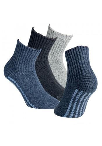 """44433- Vlnené ponožky s gumenou podrážkou """"ABS SOHLE"""" - 1 pár"""